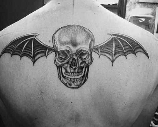 Male Deathbat Upper Back Tattoos