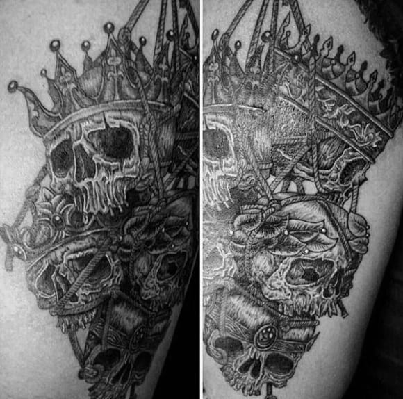 Male Deathly Skulls And Crown Tattoo Arms