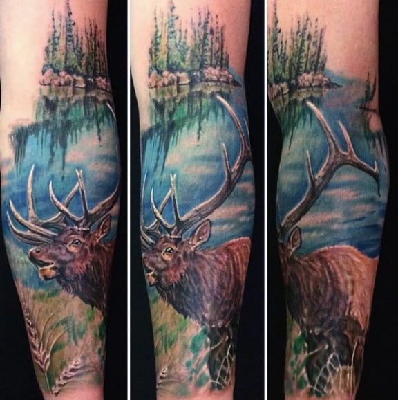 Male Deer Antler Nature Tattoo Forearm Sleeve