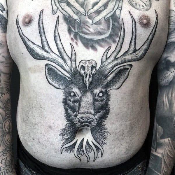 Male Deer Skulls Tattoos On Stomach