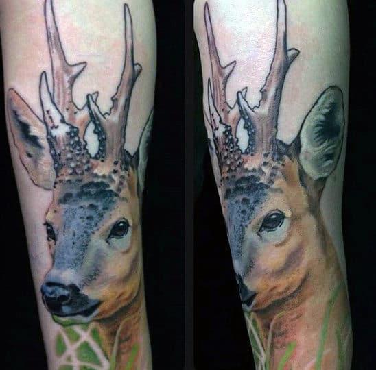 Male Deer Tattoos Designs On Arm