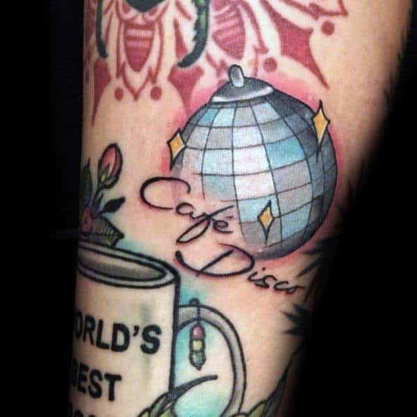 Male Disco Ball Themed Tattoo Inspiration