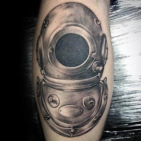 Male Diving Helmet Leg Tattoo 3d Design Inspiration