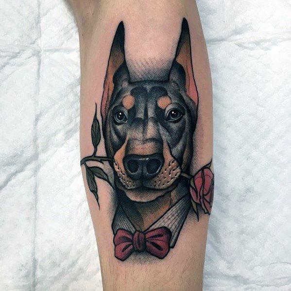 Male Doberman Tattoo Design Inspiration