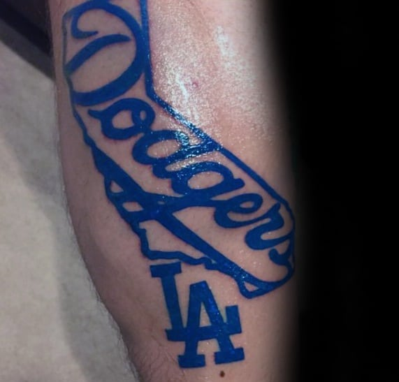 Male Dodgers Tattoo Design Inspiration With Blue Ink On Forearm