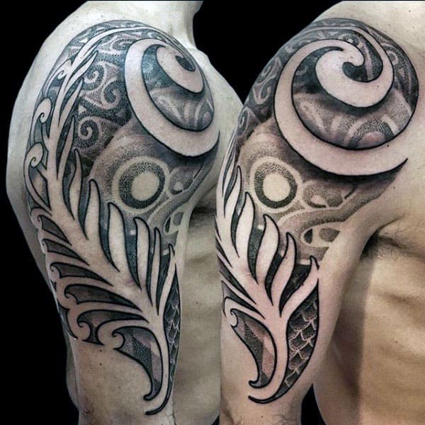 Male Dotwork Tribal Arm Tattoo Designs