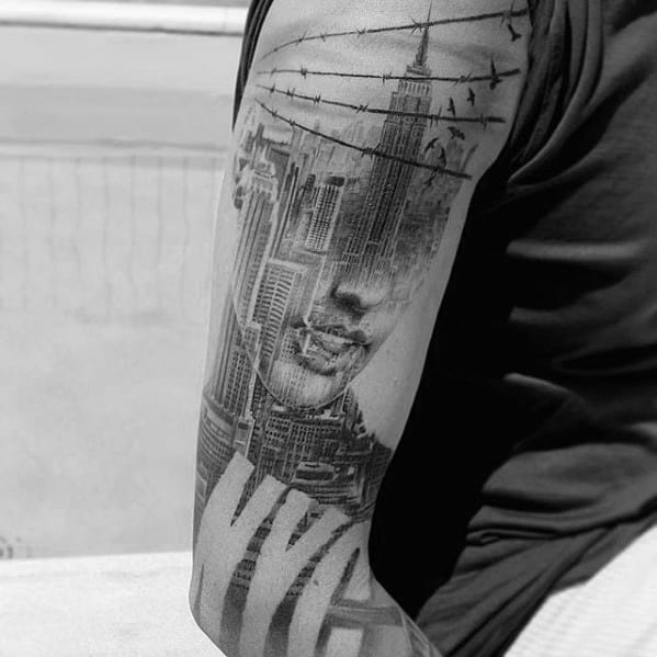 Male Double Exposure Tattoo Design Inspiration