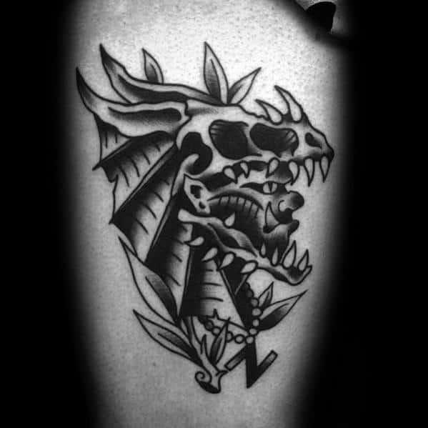 Male Dragon Skull Tattoo Design Inspiration On Thigh