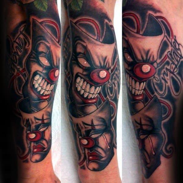Male Drama Mask Tattoo Design Inspiration Forearm Sleeve