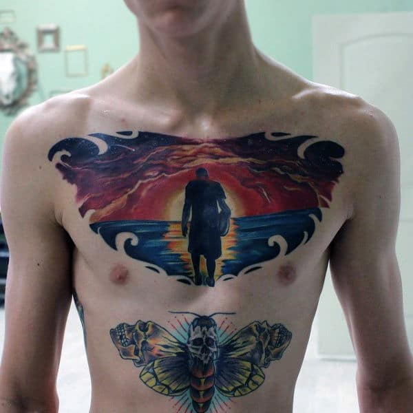 Male Dramatic Chest Tattoo Of Man At Sunset