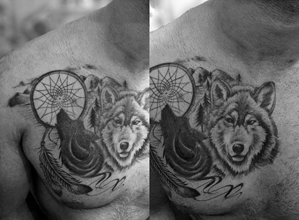 Male Dreamcatcher Tattoos On Upper Chest With Wolf