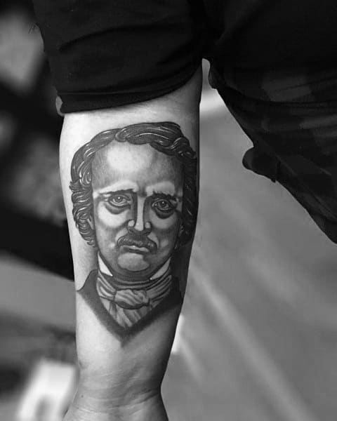 Male Edgar Allan Poe Themed Tattoos