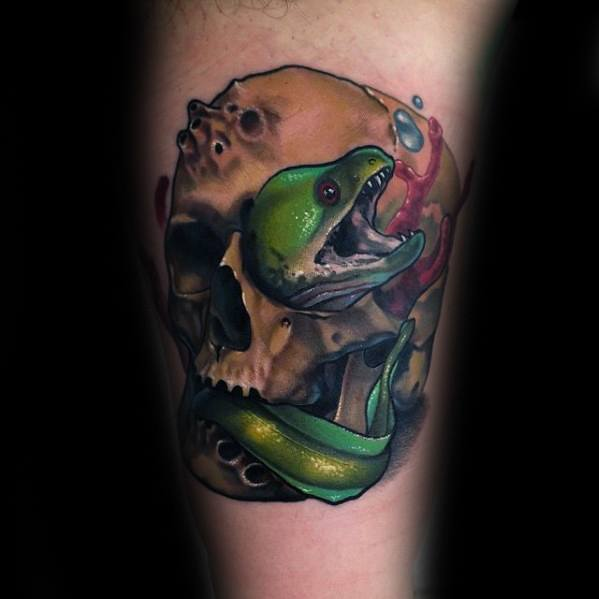 Male Eel Skull 3d Arm Tattoo Design Inspiration