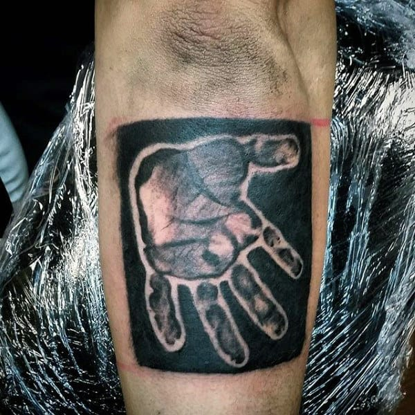 Male Elbows Hand Printed Black Stamp Family Tattoo