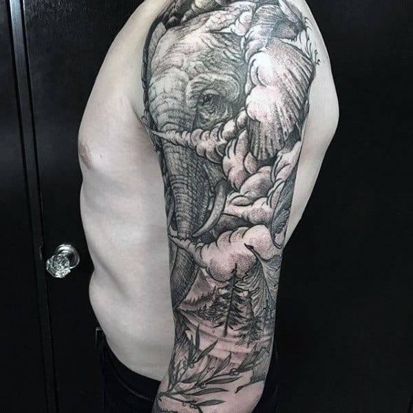 Male Elephant Original Half Sleeve Tattoos