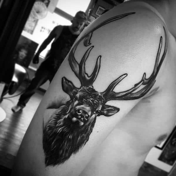 Male Elk Themed Tattoos