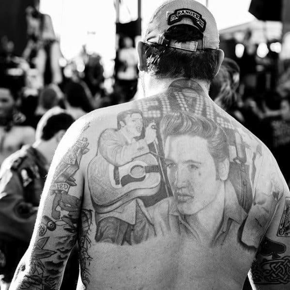 Male Elvis Presley Tattoo Design Inspiration On Back