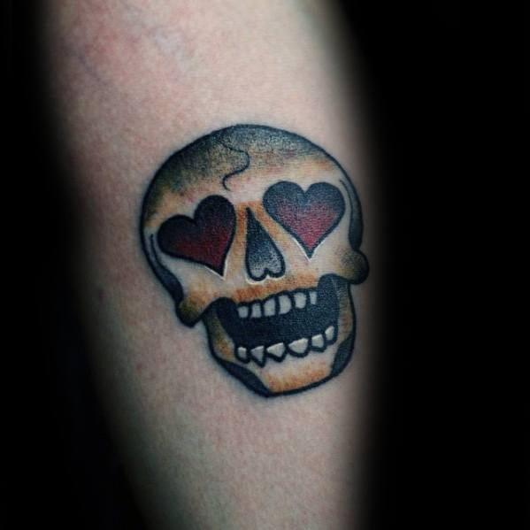 Male Emoji Skull Wth Heart Eyes Arm Tattoo Ideas