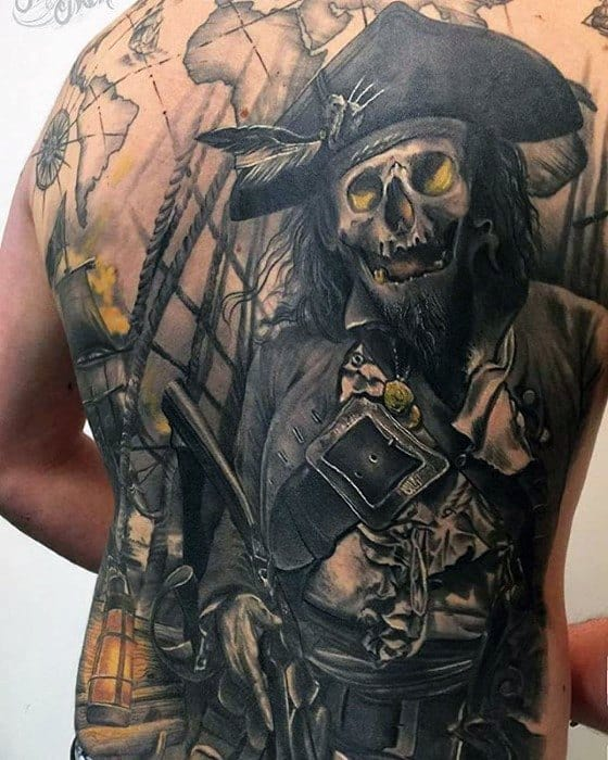 Male Epic Pirate Themed Full Back Tattoo Design Inspiration