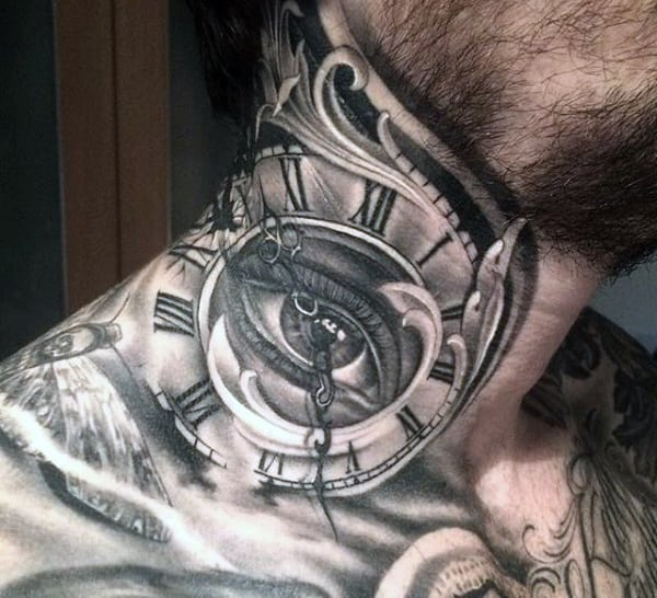 Male Exploding Clock Tattoo On Neck