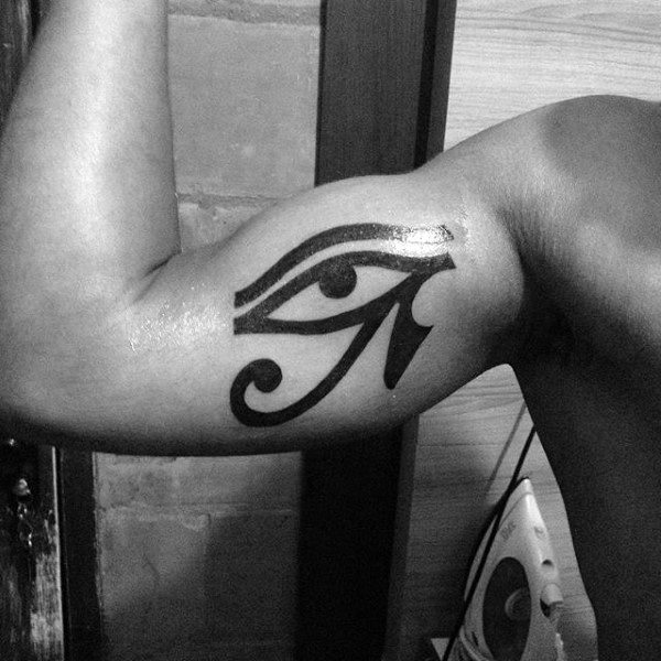 Male Eye Of Horus Bicep Tattoo