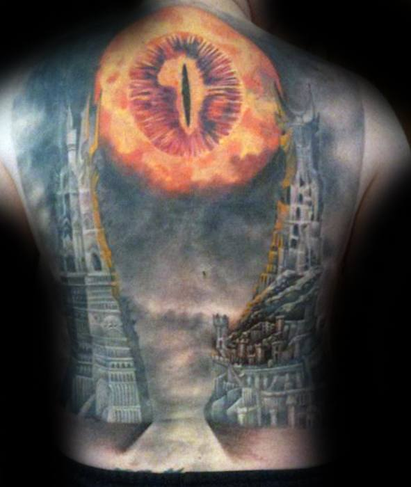 Male Eye Of Sauron Tattoo Lord Of The Rings Full Back Ideas