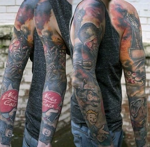 Male Fallout Tattoos Full Arm Sleeve