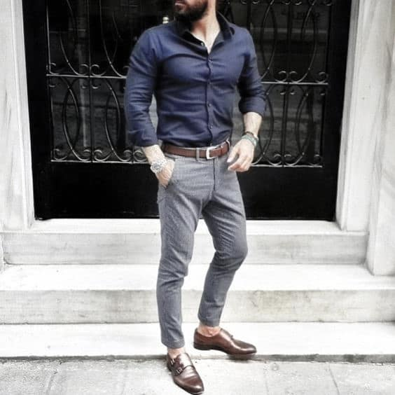 Male Fashion Business Casual Outfits Style Ideas Dark Navy Dress Shirt With Grey Pants