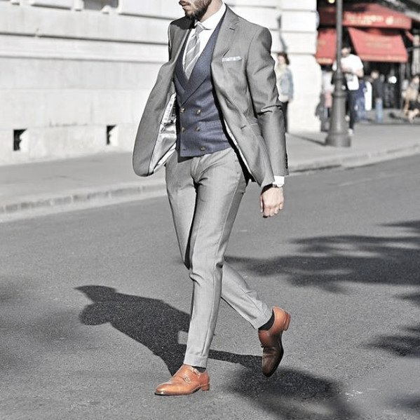 Male Fashion Charcoal Grey Suit Brown Shoes Style Ideas