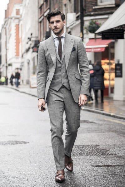 Male Fashion Grey Suit Style Ideas