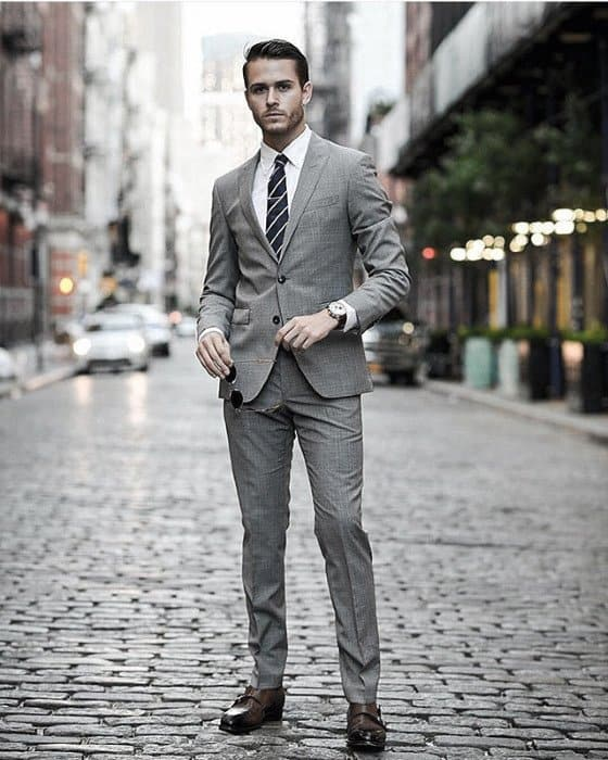 Male Fashion Ideas With Charcoal Grey Suit Brown Shoes Style