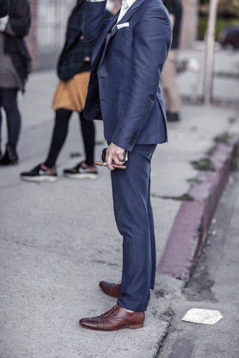Male Fashion Ideas With Navy Blue Suit Brown Shoes Style