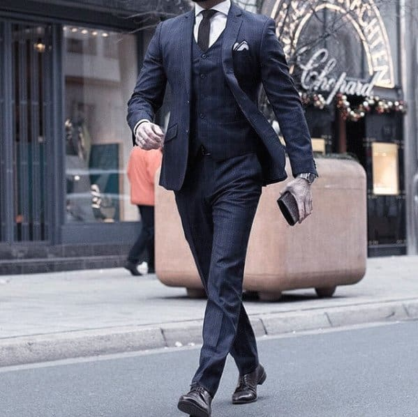 Male Fashion Navy Blue Suit Brown Shoes Style Ideas