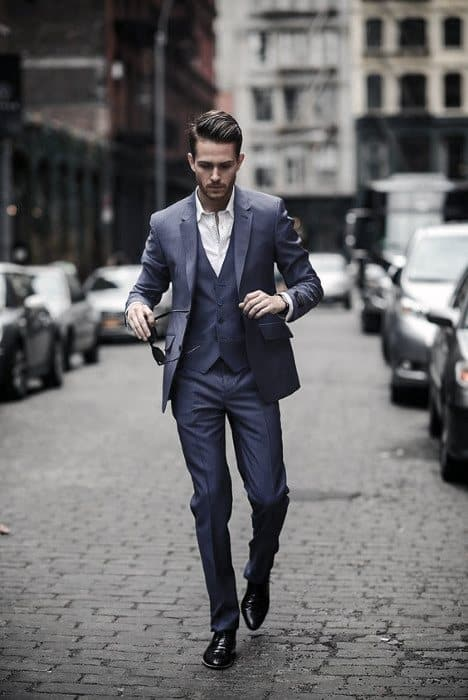 Male Fashion Navy Blue Three Piece Suit With Black Shoes And No Tie Style Ideas