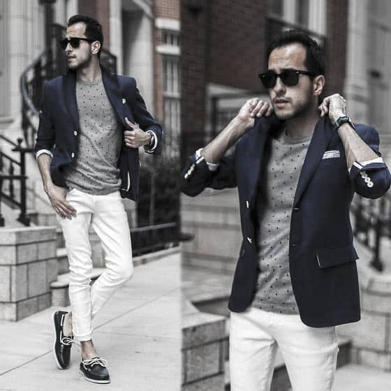 Male Fashion What To Wear With White Jeans Navy Blazer Grey Shirt