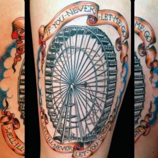 Male Ferris Wheel Themed Tattoo Inspiration