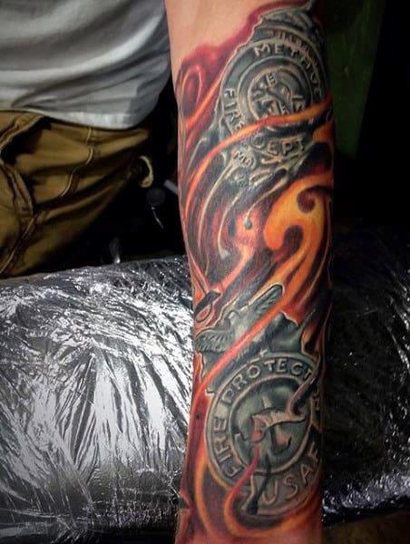 Male Firefighter Helmet Tattoos