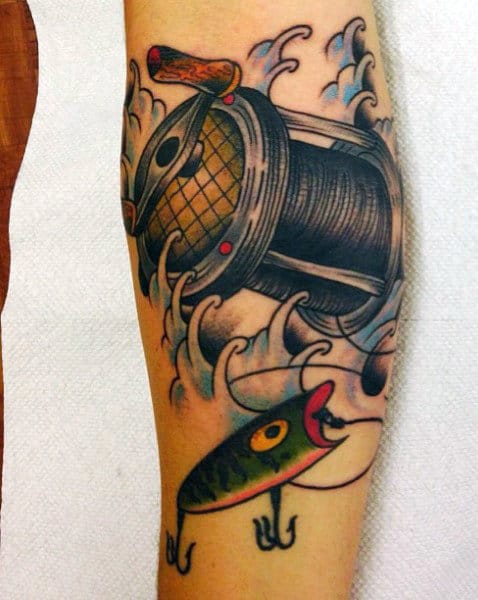 Male Fish Reel Tattoo On Leg