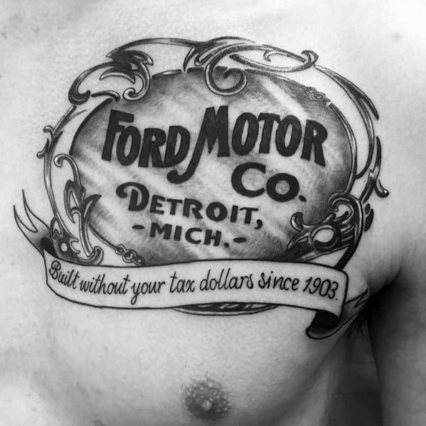 Male Ford Themed Tattoo Inspiration