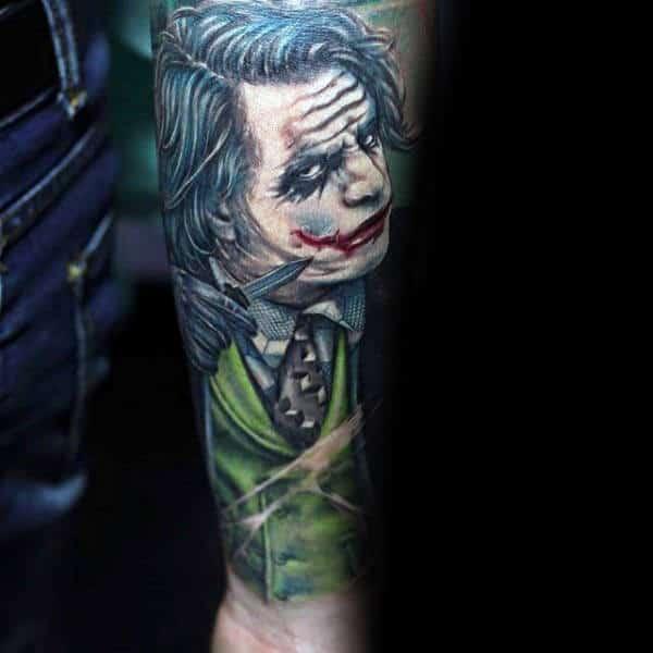 Male Forearm Joker Sleeve Tattoo Inspiration