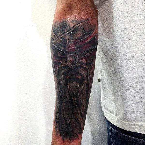 Male Forearm Long Beared Samurai Tattoo