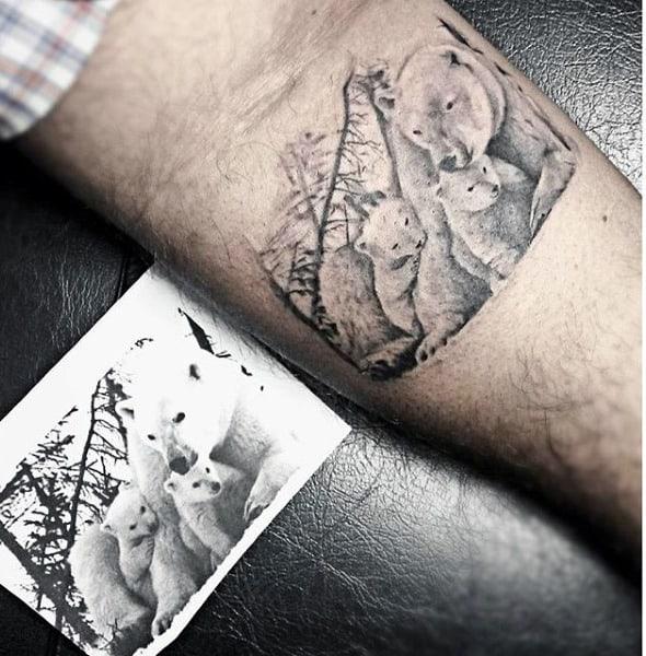 Male Forearm Loving Family Of Bears Tattoo