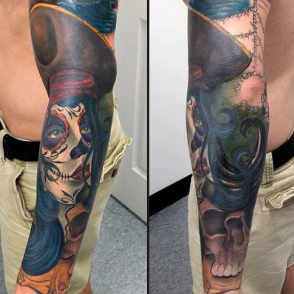 Male Forearm Matte Textured Bright Day Of The Dead Tattoo