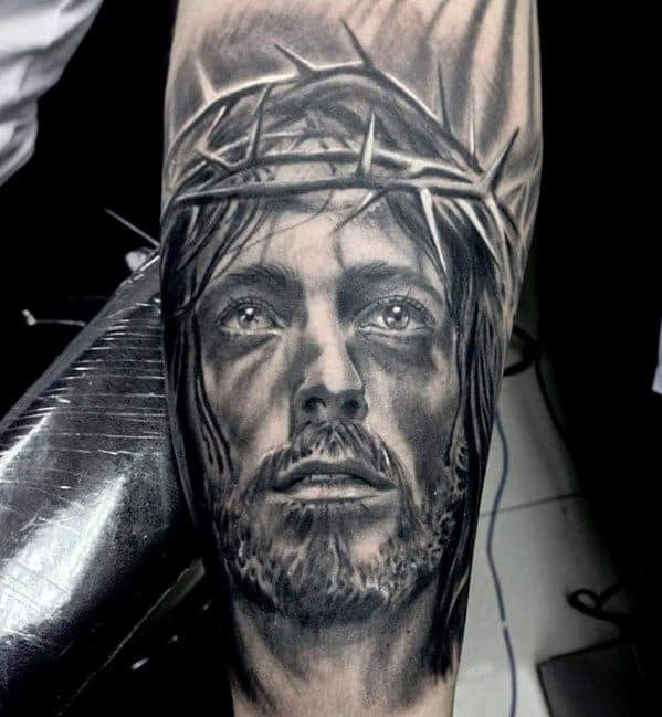 Male Forearm Realistic 3d Jesus Tattoo Ideas
