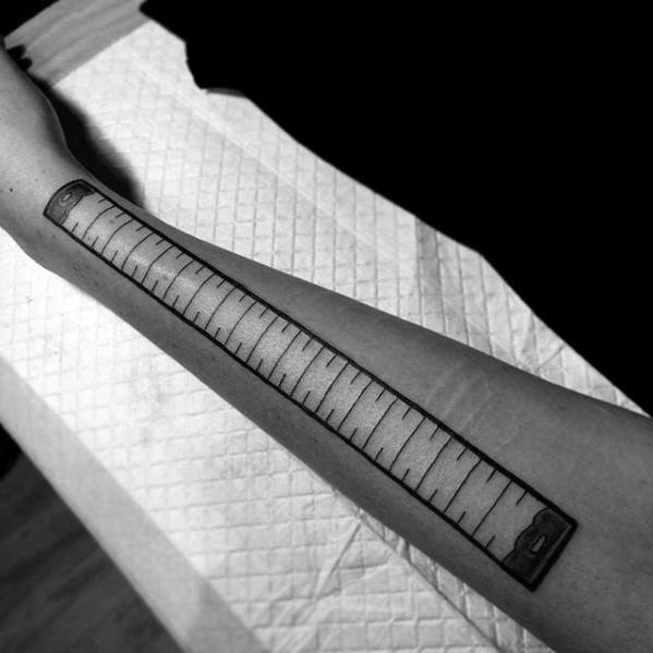 Male Forearm Ruler Tattoo Ideas