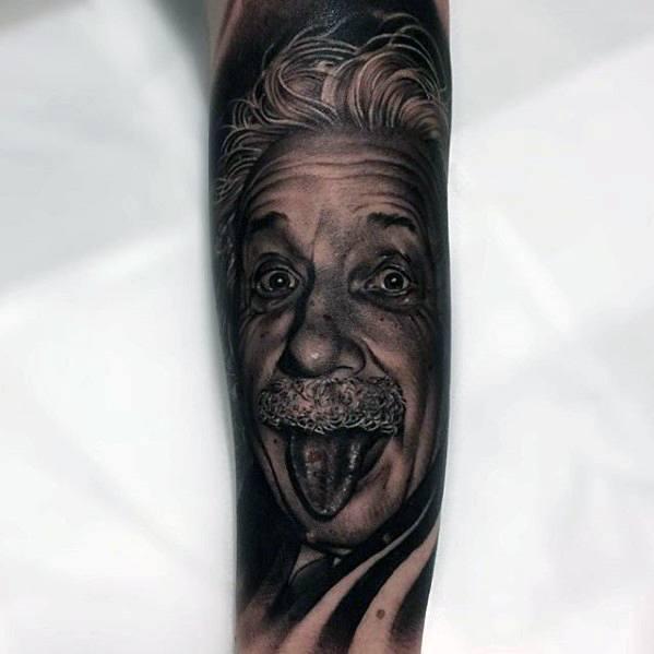 Male Forearm Sleeve Albert Einstein Tattoo Design Inspiration