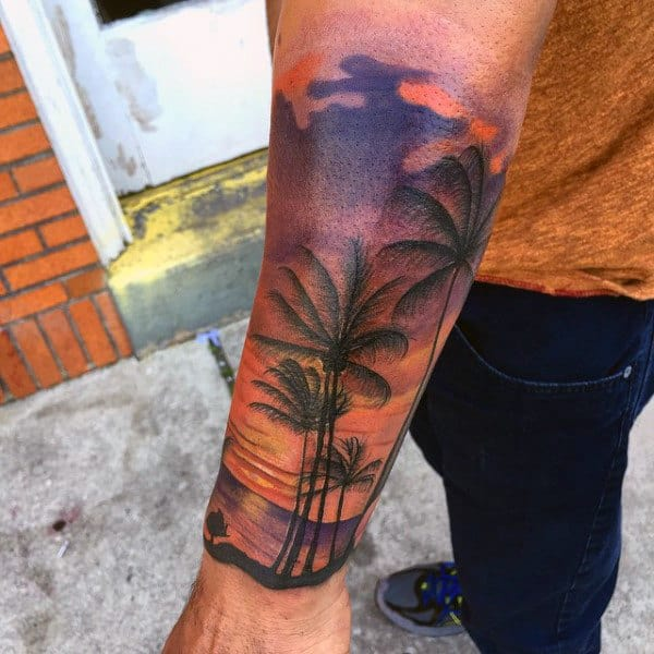 Male Forearm Sleeve Palm Tree Beach Sunset Tattoo