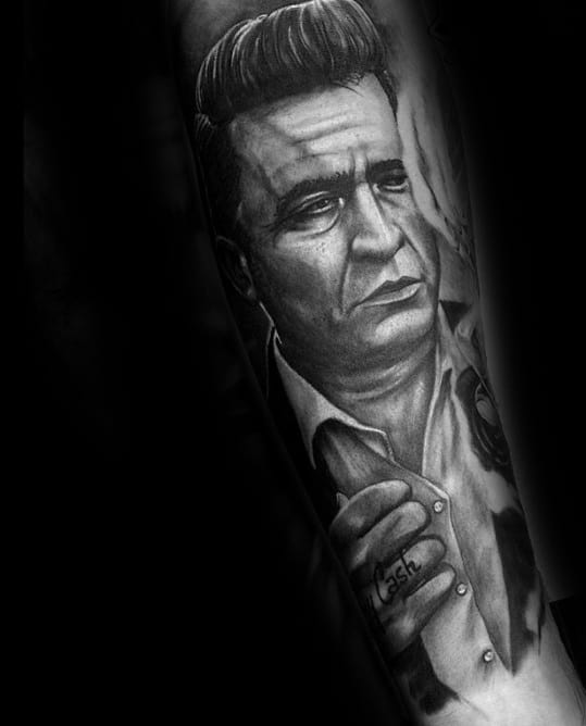 Male Forearm Sleeve Shaded Johnny Cash Tattoo Ideas