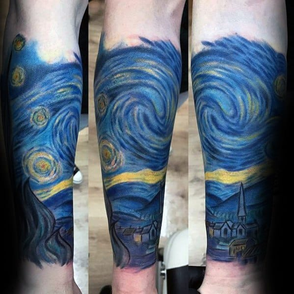 Male Forearm Sleeve Starry Night Guys Tattoo Designs