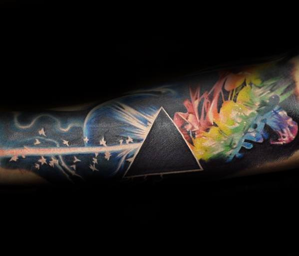 Male Forearm Sleeve Tattoo With Dark Side Of The Moon Design
